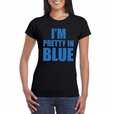 I'm pretty in blue t-shirt zwart dames