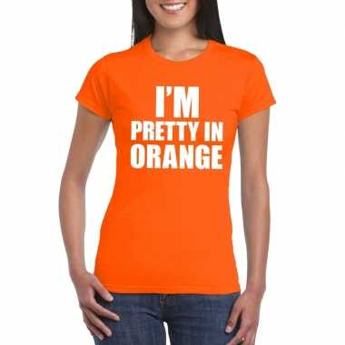I'm pretty in orange t-shirt oranje dames