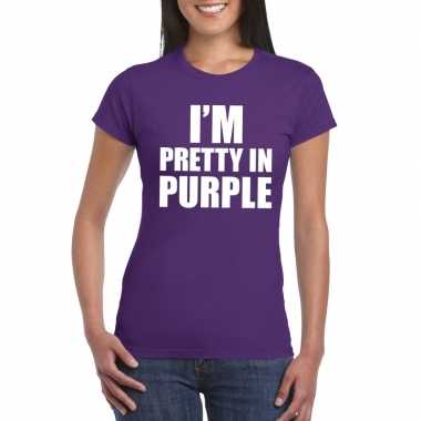 I'm pretty in purple t-shirt paars dames