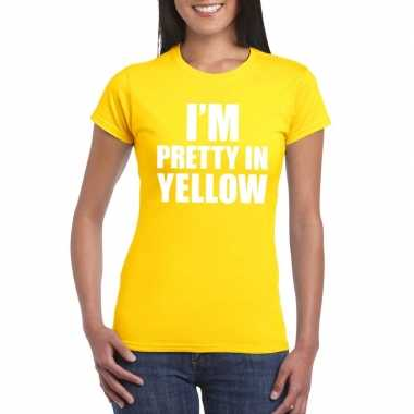I'm pretty in yellow t-shirt geel dames