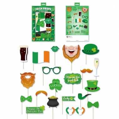 Ierse groene foto accessoires op een stokje