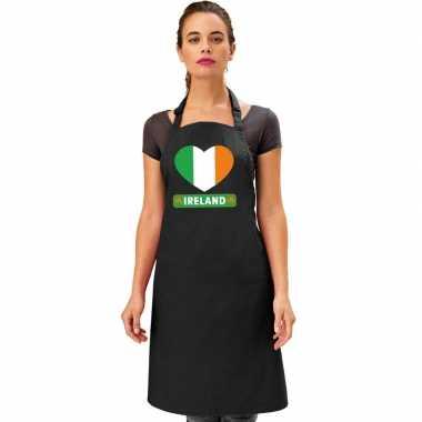 Ierse vlag in hart keukenschort/ barbecueschort zwart heren en dames