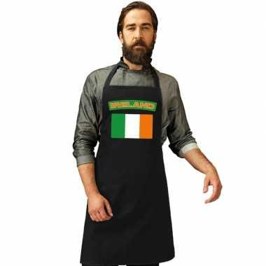 Ierse vlag keukenschort/ barbecueschort zwart heren en dames