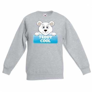 Ijsbeer dieren sweater grijs voor kinderen