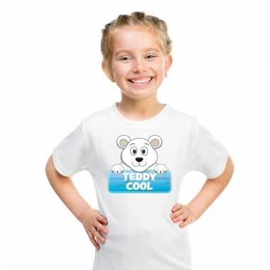 Ijsbeer dieren t-shirt wit voor kinderen