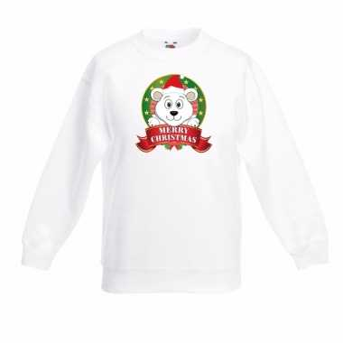 Ijsbeer kerstmis sweater wit voor jongens