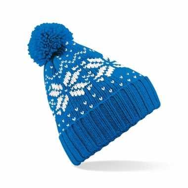 Ijsblauwe wintermuts snowstar classic