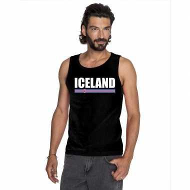 Ijsland supporter mouwloos shirt/ tanktop zwart heren
