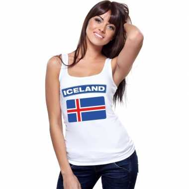 Ijsland vlag mouwloos shirt wit dames