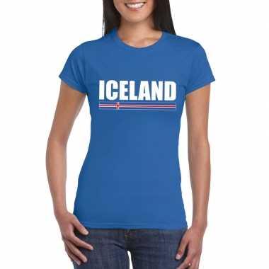 Ijslandse supporter t-shirt blauw voor dames