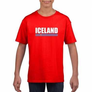 Ijslandse supporter t-shirt rood voor kinderen