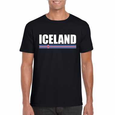 Ijslandse supporter t-shirt zwart voor heren