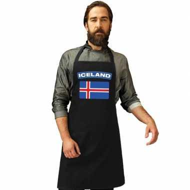 Ijslandse vlag keukenschort/ barbecueschort zwart heren en dames