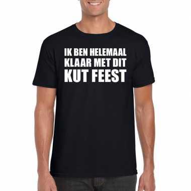 Ik ben helemaal klaar met dit kutfeest fun t-shirt voor heren zwart