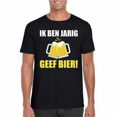 Ik ben jarig t-shirt zwart met bier heren