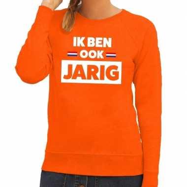 Ik ben ook jarig sweater oranje dames