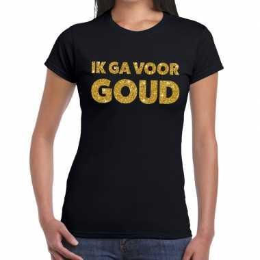 Ik ga voor goud fun t-shirt zwart voor dames
