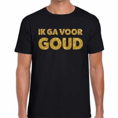Ik ga voor goud fun t-shirt zwart voor heren