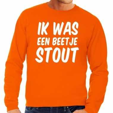 Ik was een beetje stout sweater oranje heren