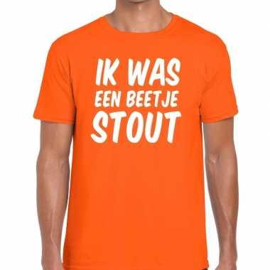 Ik was een beetje stout t-shirt oranje heren