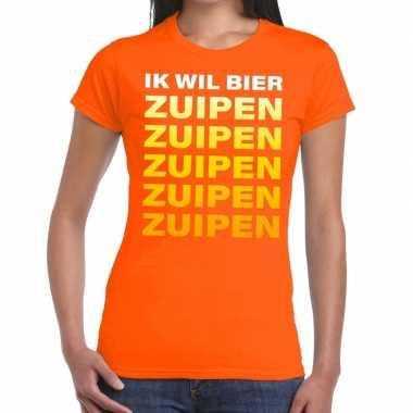Ik wil bier zuipen fun t-shirt oranje voor dames