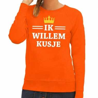 Ik willem kusje sweater oranje dames