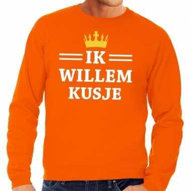 Ik willem kusje sweater oranje heren