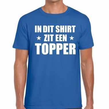 In dit shirt zit een topper tekst t-shirt blauw voor heren