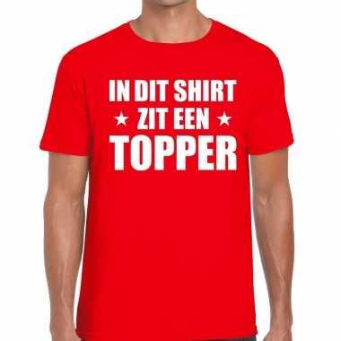 In dit shirt zit een topper tekst t-shirt rood voor heren