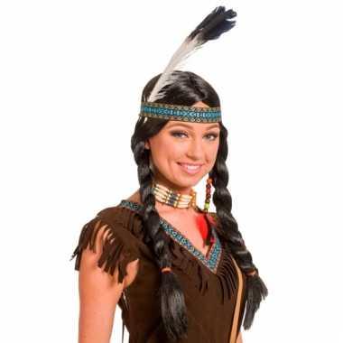 Indianen damespruik zwart met hoofdband