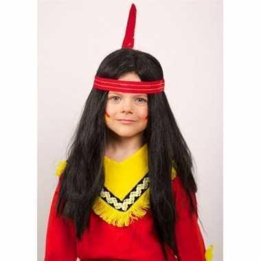 Indianen kinderpruik lang haar