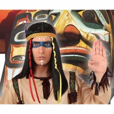 Indianen verkleedpruik met hoofdband en veren voor heren