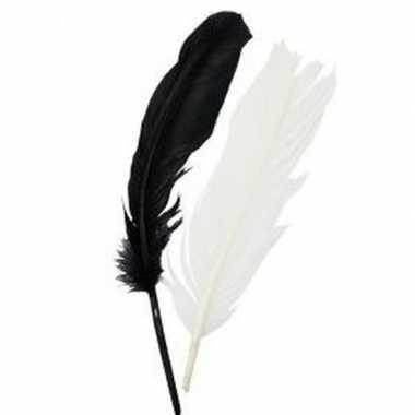 Indianenveren zwarte en witte 16 cm