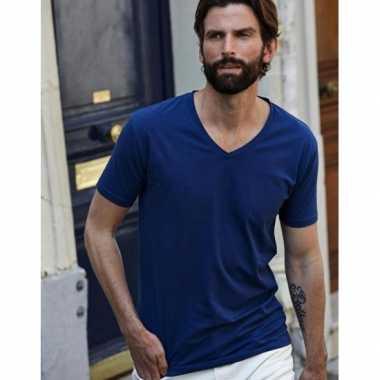 Indigo blauw stretch t-shirts voor heren