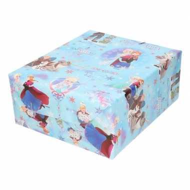Inpakpapier/cadeaupapier disney frozen blauw met sneeuwvlokken 200 x