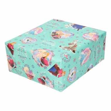 Inpakpapier/cadeaupapier disney frozen mint met sneeuwvlokken 200 x 7