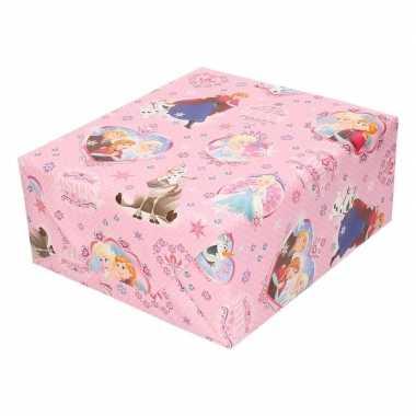 Inpakpapier/cadeaupapier disney frozen roze met sneeuwvlokken 200 x 7