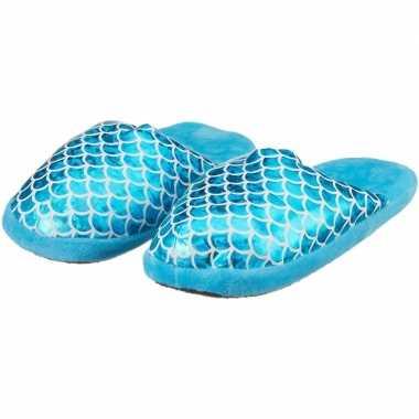 Instap pantoffels/sloffen zeemeerminnen blauw/zilver voor kinderen