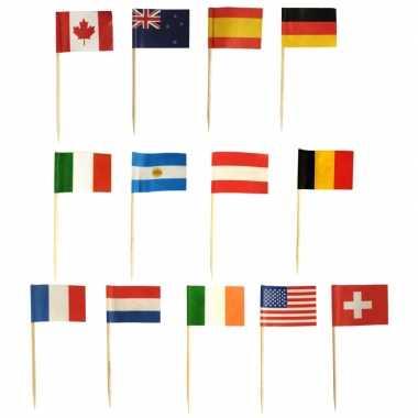 Internationale vlaggetjes cocktail prikkers 1000 stuks