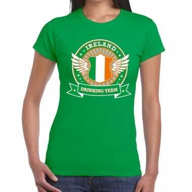 Ireland drinking team t-shirt groen dames