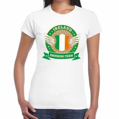 Ireland drinking team t-shirt wit dames