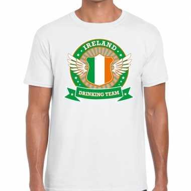 Ireland drinking team t-shirt wit heren