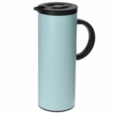 Isoleerkan/thermosfles lichtblauw rvs 1 liter