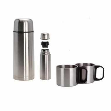 Isoleerkan/thermosfles met twee bekers rvs 1 liter