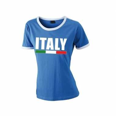 Italiaanse supporter ringer t-shirt blauw met witte randjes voor dame