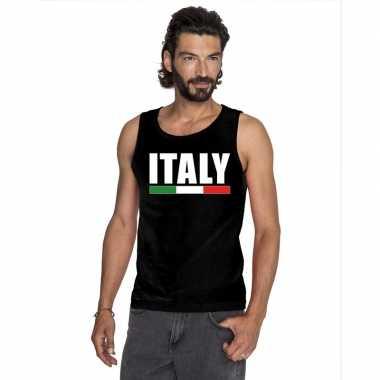 Italie supporter mouwloos shirt/ tanktop zwart heren