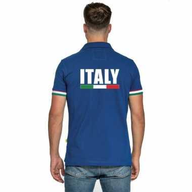 Italie supporter poloshirt blauw heren