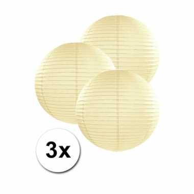 Ivoorkleurige lampionnen 25 cm 3 stuks