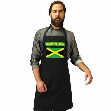 Jamaicaanse vlag keukenschort/ barbecueschort zwart heren en dames