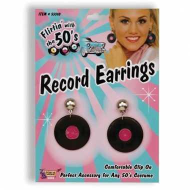 Jaren 50 thema elpee oorbellen